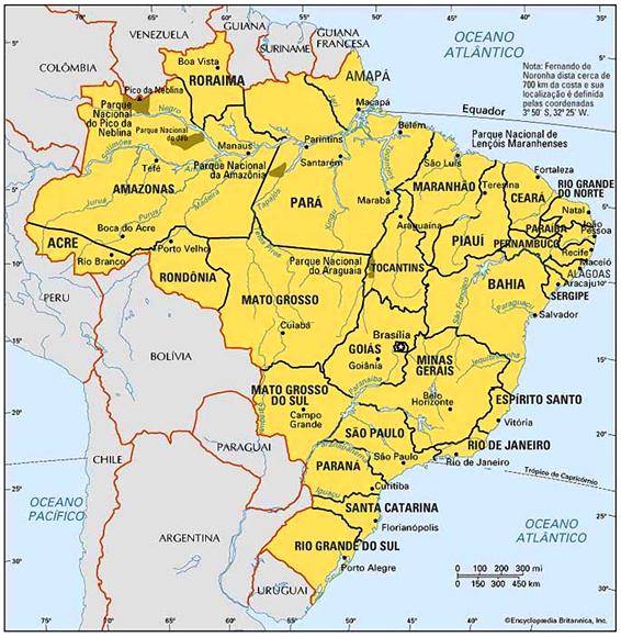 un mapa de brasil con todas las ciudades y los puntos mas importantes ...
